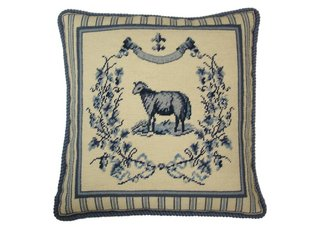 French Country Blue Sheep Needlepoint Pillow