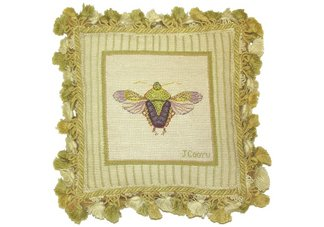 Stink Bug Needlepoint Pillow