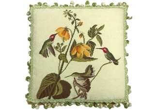 Three Hummingbirds Needlepoint Pillow