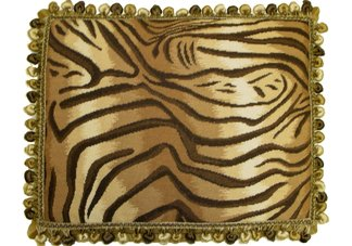Tiger Print Needlepoint Pillow