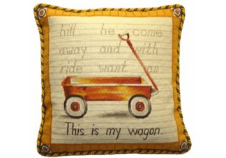 Vintage Wagon Needlepoint Pillow