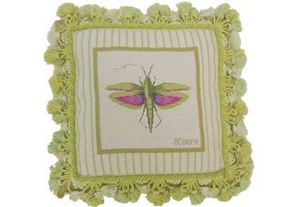 Jan Cooleys Winged Grasshopper Needlepoint Pillow
