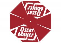 Oscar Mayer logo umbrella proof