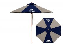 8 Panel Wood Market Umbrella with Logo