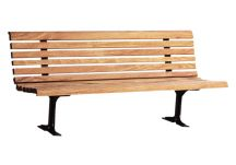 Classic Wood Park Bench with Cast Iron Frame