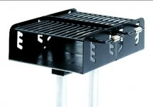 Commercial Park Dual Grate Charcoal Grill w/ Post- Black
