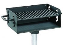 Commercial Park ADA Charcoal Grill- In ground, Black