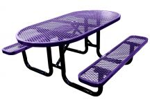 oval expanded metal picnic table