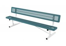 Regal Style Expanded Metal Park Bench with Back