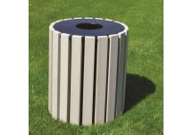 33-gallon round recycled plastic trash can