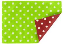 Ikat Dots Grasshopper green and Red Natural
