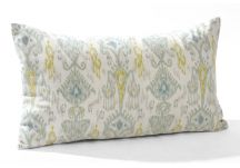 Robert Allen Khanjali Glacier and Linen Slub Ivory Pillow