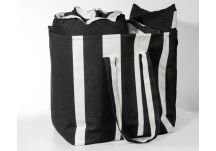 Al Fresco Cabana Stripe Black and Sunbrella Sailcloth Shadow Bag