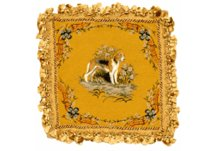 Hound on Gold Needlepoint Pillow