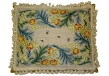 Floral Bees Needlepoint Pillow
