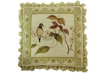 Bird and Bean Flower Needlepoint Pillow