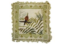 Bird with Ferns Needlepoint Pillow