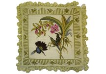 Birds and Pink Flower Needlepoint Pillow
