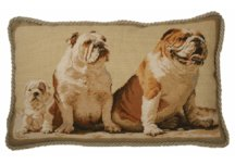 Bull Dog Family Needlepoint Pillow