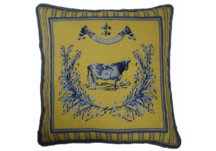 Blue and Yellow Country Cow Needlepoint Pillow