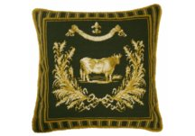 Green French Country Cow Needlepoint Pillow