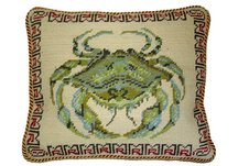 Crab Needlepoint Pillow