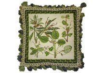 Fern and Bamboo Needlepoint Pillow