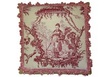 Red Chinese Fishwife Needlepoint Pillow