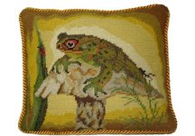 Frog Needlepoint Pillow