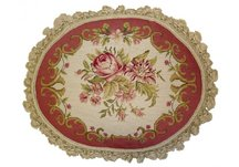Oval Roses Needlepoint Pillow