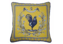 Blue and Yellow Rooster Needlepoint Pillow