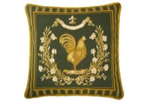 Classic Country Rooster Green Needlepoint Pillow