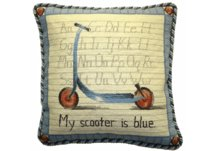 Vintage Scooter Needlepoint Pillow