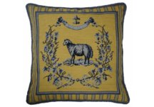 Blue and Yellow Sheep Needlepoint Pillow