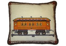 Vintage Train Needlepoint Pillow