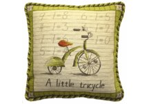 Vintage Tricycle Needlepoint Pillow