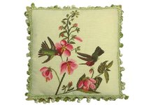 Two Hummingbirds Needlepoint Pillow