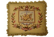 Big Viola and Trumpet Music Needlepoint Pillow