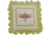 Jan Cooley's Winged Grasshopper Needlepoint Pillow