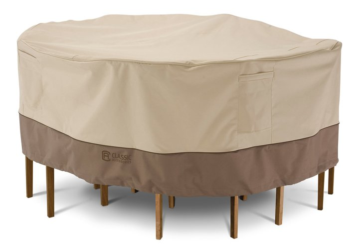 Round Table Amp Chairs Cover Medium Teak Furniture Outlet
